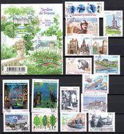 (L404) Année 2011 : Quinze Timbres Et Un Feuillet (jardin Cheverny Villandry), Tous Oblitérés Et Gommés - France