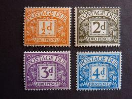GRANDE BRETAGNE,  TIMBRE-TAXE, Année 1955, YT N° 37 à 40 Neufs MH* (cote 95 EUR) Le 4d: Trace De Pliure Au Dos - Postage Due