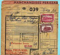 Spoorwegdoc, Spoorwegafst. GODINNE 22/07/1950 + Vignet MARCHANDISES PERISSABLE (élevage De Truites Annevoie-Rouillon) - Spoorwegen