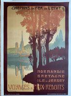 Affiche Ancienne / Normandie Bretagne île De Jersey / Julien Lacaze / Voyages Chemins De Fer De L'Etat - Affiches