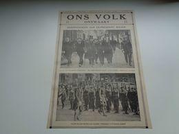 """Origineel Knipsel ( 67 ) Uit Tijdschrift """" Ons Volk Ontwaakt """"  1924 : Wilson Bezoekt Leuven ( Louvain ) Koning Albert - Oude Documenten"""