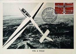 Vol à Voile Planeur - Aviation Légère Et Sportive  - Carte Maximum Card 1962 (Toussus Le Noble) - Toussus Le Noble