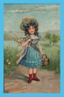 CPA - Fantaisie - Joyeuqes Pâques - Fillette - Fleurs Et Panier Pour Les œufs - Pâques