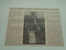 """Origineel Knipsel ( 2561 ) Uit Tijdschrift """" Ons Volk Ontwaakt """"  1924 : Vlaams Student Neergeschoten  Leuven Louvain - Oude Documenten"""