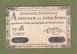 AUTHENTIQUE ASSIGNAT CORSEL DE 5£ CINQ LIVRES CRÉÉ LE 28 SEPT 1791 LE TIMBRE SEC EST TRÈS VISIBLE SÉRIE 27 B N° 70809 - Assignate