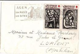 Croix-rouge 1961 Sur Petite Lettre Agen 26.12.1961 - Marcophilie (Lettres)