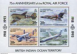 Ref. 349142 * NEW * - BRITISH INDIAN OCEAN TERRITORY . 1993. 75TH ANNIVERSARY OF THE ROYAL AUR FORCE . 75 ANIVERSARIO - Vliegtuigen