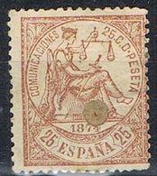 Sello 25 Cts Alegoria Justicia 1874. TELEGRAFOS, Perforado Telegrafico, Num 147T º - Télégraphe