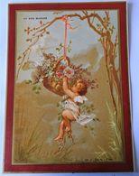 CHROMO AU BON MARCHE--PETITS AMOURS AVEC CORBEILLES DE FLEURS-ANNEE 1889-1891. IMP. L. PACON. - Au Bon Marché