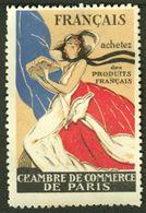 """France 1937 """" Chambre De Commerce Paris - Achetez Des Produits Francais """" Vignette Cinderella Reklamemarke - Erinofilia"""