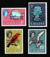 St. Helena, 1965, Local Post Overprint, Fish, Birds, MNH, Michel 163-166 - Saint Helena Island
