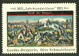 """Deutschland Leipzig ? 1913 """" Goethe Drogerie Otto Schmatzhagen Bild Völkerschlacht """" Vignette Cinderella Reklamemarke - Erinofilia"""