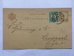 HUNGARY 188 Postcard Levelezo-Lap - Nagykanizsa To Liverpool England - Hongrie
