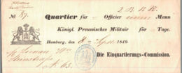 1849 Hamburg, Einquartierungsbeleg Königl. Preussisches Militär - Historical Documents