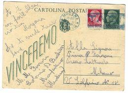 CL343 - STORIA POSTALE INTERO CARTOLINA VINCEREMO C 20 E C 15 STEMMA SABAUDO MONFESTINO MODENA 1944 - 4. 1944-45 Repubblica Sociale