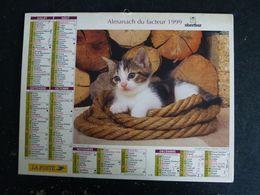 CALENDRIER ALMANACH DES PTT LA POSTE 1999 AVEC CARTES YONNE AVALLON AUXERRE SENS JOIGNY - Grand Format : 1991-00