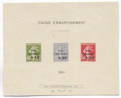 RARE EPREUVE COLLECTIVE SEMEUSE CAISSE D'AMORTISSEMENT ! YVERT 275/277 - COTE = 1200 EUR. - Sinking Fund
