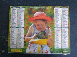 CALENDRIER ALMANACH DES PTT LA POSTE 2001 AVEC CARTES YONNE AVALLON AUXERRE SENS JOIGNY - Calendars