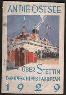 Dampfschiff - Fahrplan , 1929 , 144 Seiten, Mit Faltplan , Viel Reklame , Mecklenburg / Pommern , Stettin , Zinnowitz .. - Bateaux