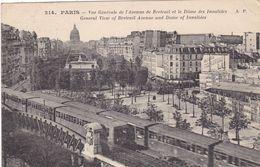 75. PARIS .CPA . METRO ET VUE GÉNÉRALE DE L'AVENUE DE BRETEUIL ET DES INVALIDES. ANNÉE 1924 + TEXTE - Métro Parisien, Gares