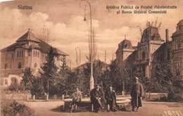 Romania - SLATINA - Gradina Publica Cu Palatul Administrativ Si Banca Uniunei Co - Romania