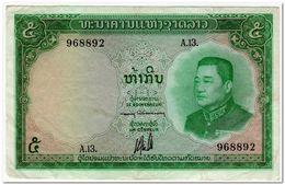 LAOS,5 KIP1962,P.9b,VF,2 PINHOLES - Laos