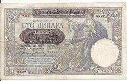 SERBIE 100 DINARA 1941 VF P 23 - Serbia