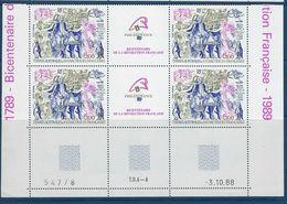 """TAAF Coins Datés Aerien YT 107 """" Révolution Française """" Neuf** Du 3.10.88 - Terres Australes Et Antarctiques Françaises (TAAF)"""