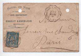 """1885 - ENVELOPPE COMMERCIALE """"HOTEL DE NICE"""" à MONACO Avec CACHET AMBULANT VINTIMILLE A MARSEILLE Sur TYPE SAGE - Monaco"""
