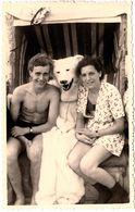 Carte Photo Originale Déguisement D'Ours Blanc & Eisbär à La Mer Entre Un Jeune Couple & Cabine De Plage 1940/50 - Anonieme Personen