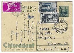 CL346 - STORIA POSTALE CARTOLINA POSTALE CHLORODONT 1952 LIRE 20 LIRE 15 LIRE 5 LIRE 50 ESPRESSO - Interi Postali