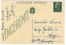 CL347 - STORIA POSTALE INTERO CARTOLINA VINCEREMO CENT 15  STEMMA SABAUDO CISTERNA DI LITTORIA 1944 - Interi Postali