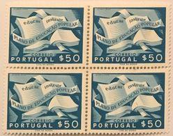 POR#4481-Block Of 4 MNH Stamps Of 50 Centavos Plano De Educação Popular - Educar - Instruir - Portugal - 1954 - Blocs-feuillets