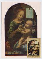 CARTE MAXIMUM CM Card USSR RUSSIA Art Painting Italy Da Vinci Madonna Benois Child - Tarjetas Máxima