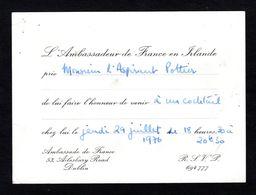 RARE - Carte D'invitation Pour Un Cocktail à L'Ambassade De France à Dublin - Irlande En 1976 - Recepciones