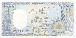 BILLETE DE EL CONGO DE 1000 FRANCS DEL AÑO 1991 (ELEFANTE-ELEPHANT) (BANKNOTE) - Republic Of Congo (Congo-Brazzaville)
