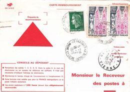 Carte Remboursement CH1418C Villedieu Maine Loire Cheffer Ussel 1976 Civray Vienne Retour Envoyeur 1035 - 1967-70 Maríanne De Cheffer