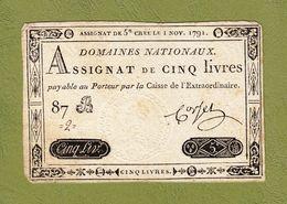 AUTHENTIQUE ASSIGNAT CORSEL DE 5£ CINQ LIVRES CRÉÉ LE 1 NOV. 1791 LE TIMBRE SEC EST TRÈS BEAU SÉRIE 87 B N° 2 Serbon63 - Assignate