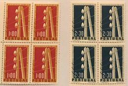 POR#4440-Set Of 2 Blocks Of 4 MNH Stamps Centenário Do Telégrafo Eléctrico Em Portugal - Portugal - 1955 - Blocs-feuillets
