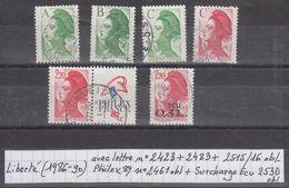 France Liberte (1986-90) Y/T Avec Lettre 2423+2483+2515/16 + Philex89 2461 + Surchargé Ecu 2530 Obl - 1982-90 Liberté De Gandon
