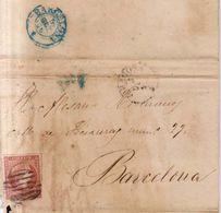 Año 1856 Edifil 48 Sello 4c Isabel II Carta Matasellos Rejilla Y Zaragoza Tipo I Manuel Frances De Zaragoza - 1850-68 Reino: Isabel II