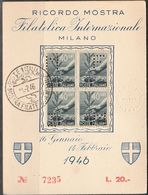 "Italie.  Carte Expo Milano 1946, Perfin ""MF/IM"" - Italië"