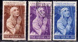 CITTÀ DEL VATICANO VATIKAN VATICAN 1962 S.ST. SANTA CATERINA DA SIENA SERIE COMPLETA COMPLETE SET USATA USED OBLITERE' - Oblitérés