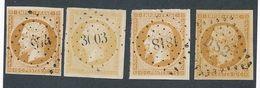 """DP-163: FRANCE: Lot Avec """"NAPOLEON """" N°13A Obl 1er Choix, (4 Teintes Dont Citron) - 1853-1860 Napoléon III"""