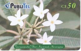 TARJETA DE NICARAGUA DE PUBLITEL DE SACUANJOCHE FLOR NACIONAL (FLOWER) - Nicaragua