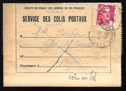 SERVICE DES COLIS POSTAUX - 1946 - CHEMINS DE FER FRANCAIS - VOSGES - Colis Postaux