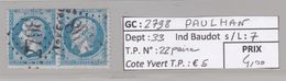 GC 2798 Paulhan ( Dept 33 ) S / N° 22 Paire - Marcophilie (Timbres Détachés)