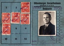 Carte De Transport Oldenburger Vorortbahnen Pekol G.M.B.H. Nerkarte 1950 - Trains De Banlieue D'Oldenburg & Vignettes - Trains