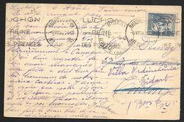 Carte Avec N°295 Perforé L.F.-Cachet De Bagneres De Luchon Hte Garonne - Perforadas