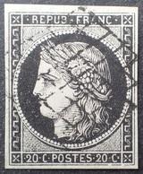R1286/2 - FRANCE - CERES N°3 Noir Sur Blanc - GRILLE - Cote (2020) : 70,00 € - 1849-1850 Cérès